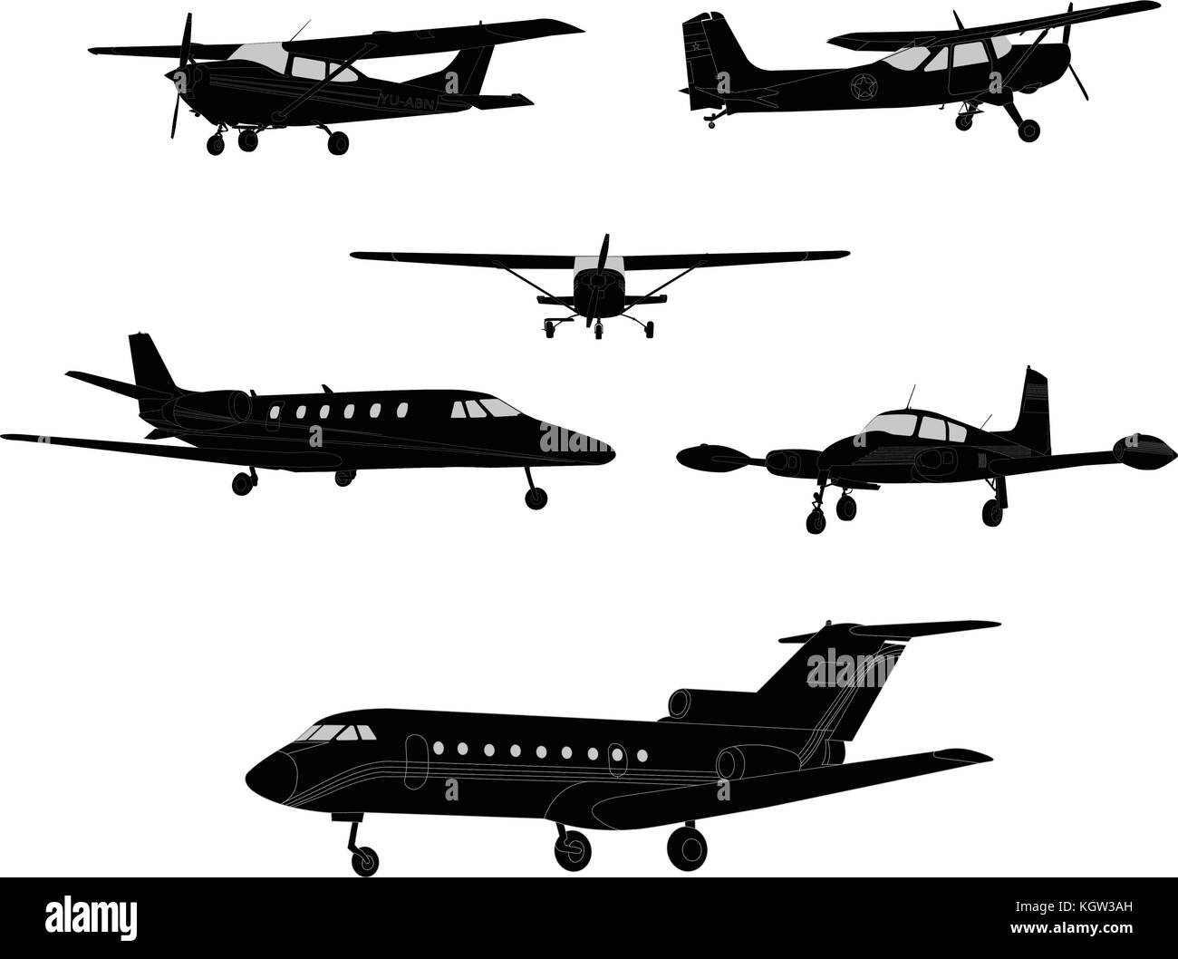 airplane silhouettes - vector - Stock Vector