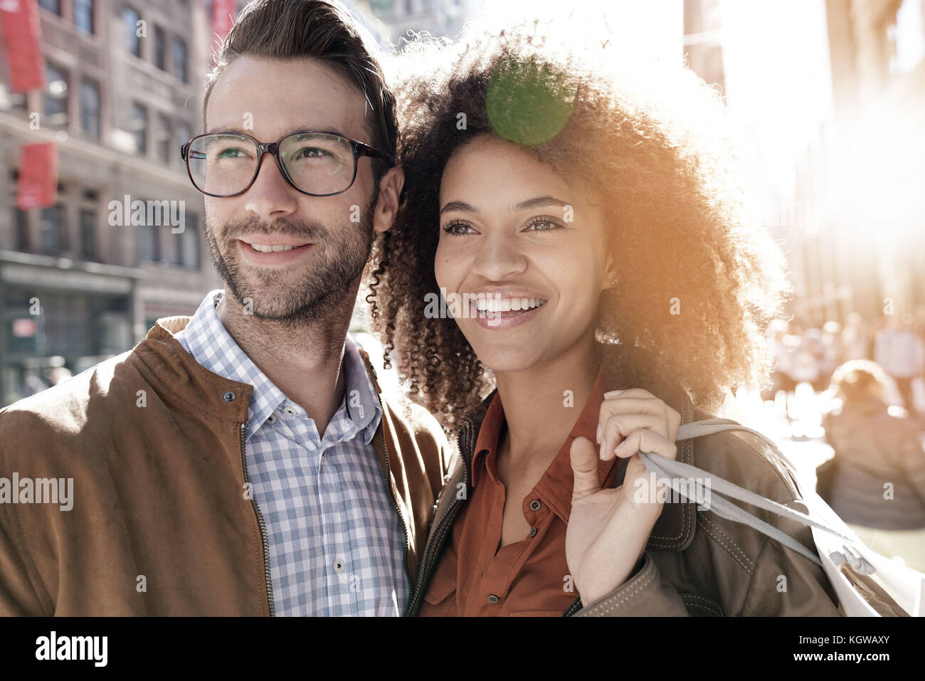 Cheerful couple doing shopping in Manhattan, New York city Stock Photo
