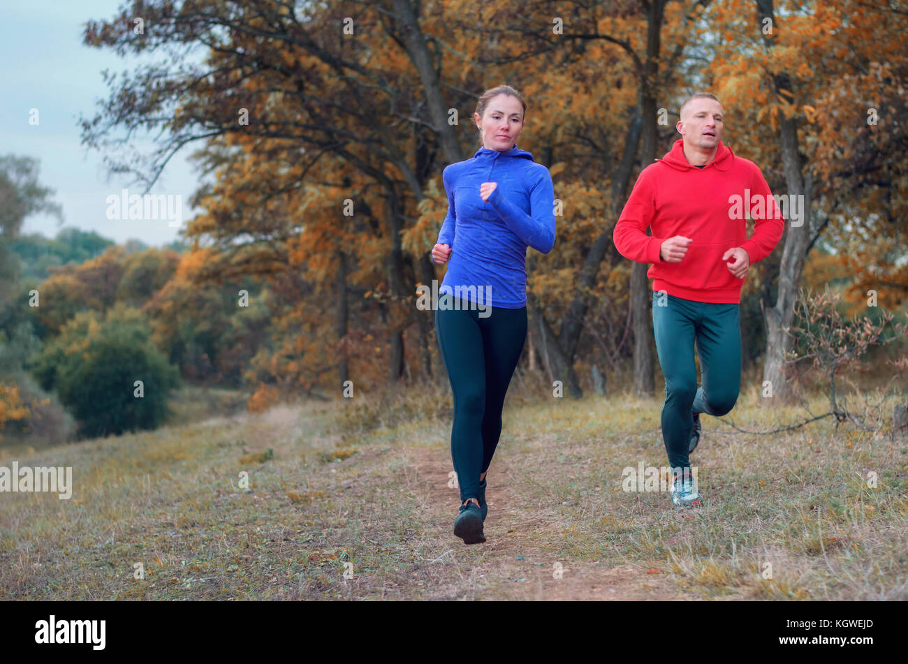 A pair of jogger in black leggins and color jacket fast run along the path on the colorful  autumnal forest hill. - Stock Image