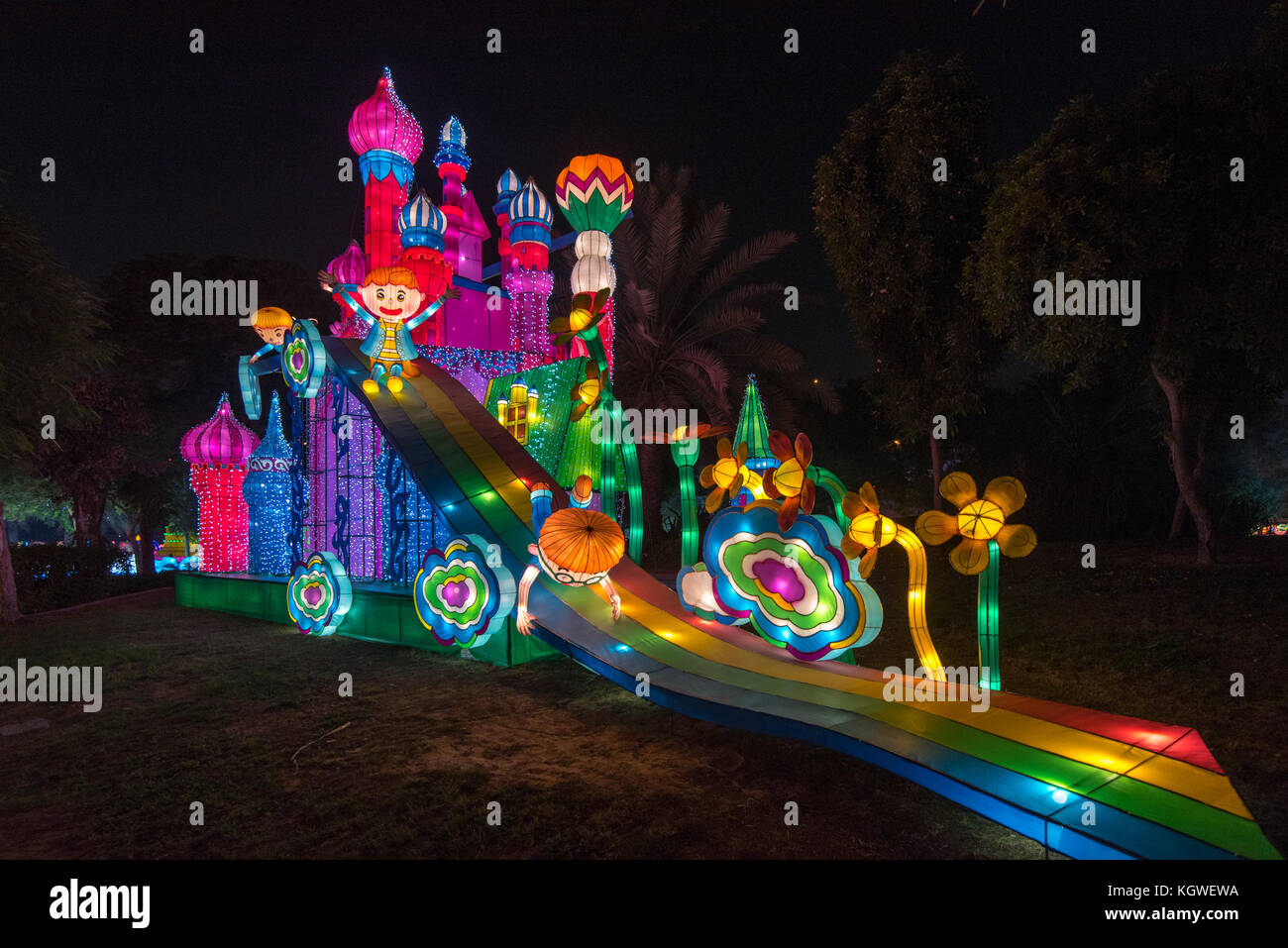 DUBAI, UAE - 28OCT2017: Dubai Garden Glow is an evening attraction in Zabeel Park which operates during the winter - Stock Image
