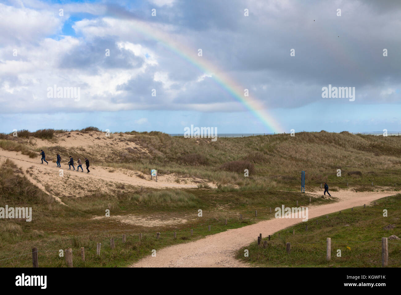 Netherlands, Zeeland, path through the dunes in the nature reserve de Manteling between Domburg and Oostkapelle - Stock Image
