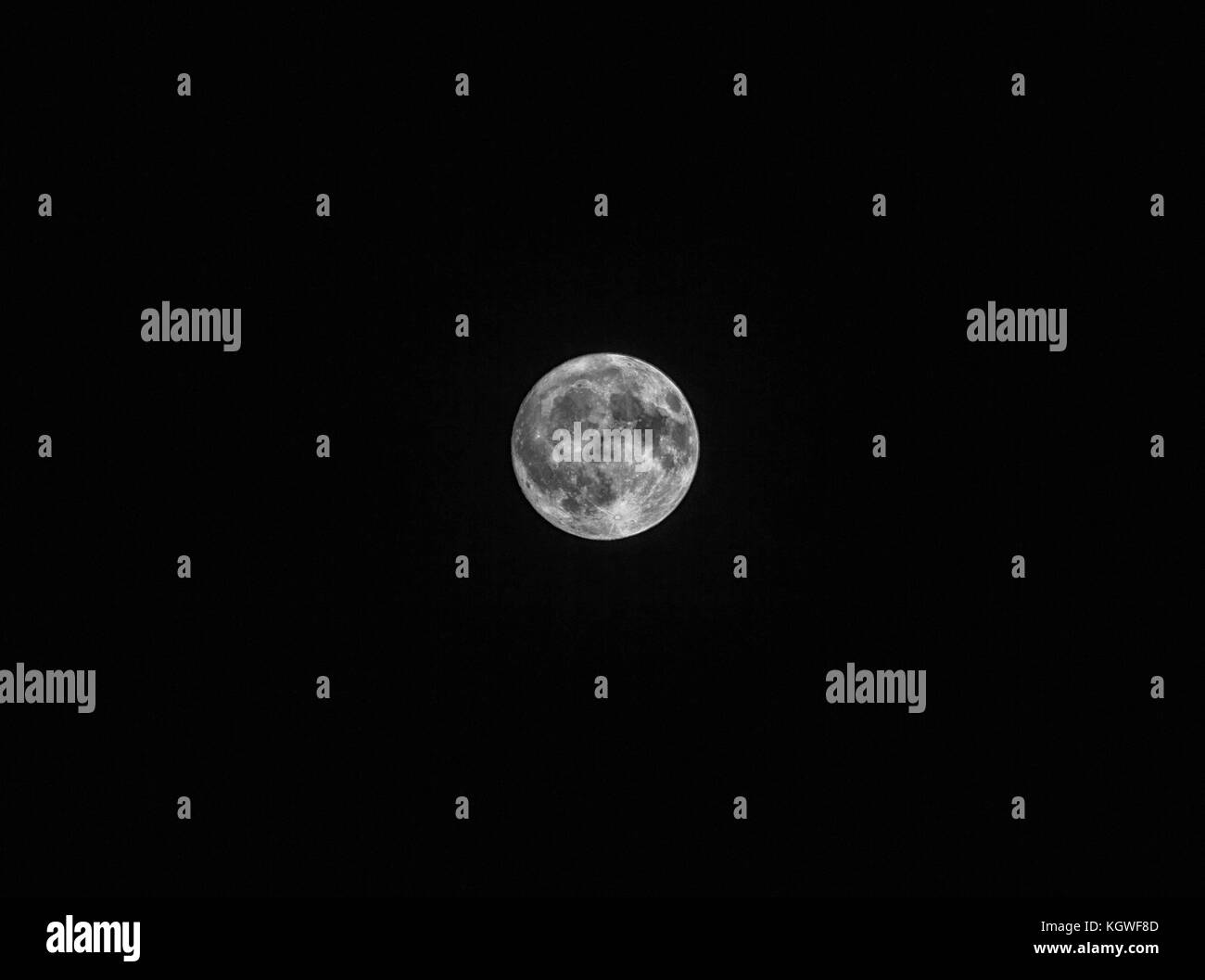 fool moon at night black background at russia in 2017 year - Stock Image
