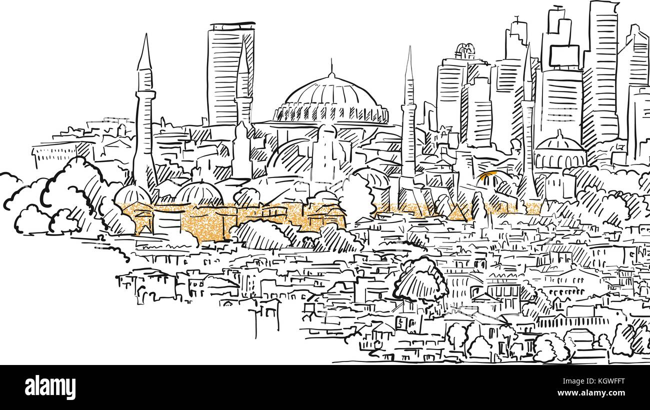Modern And Old Istanbul Panorama Drawing Hand Drawn