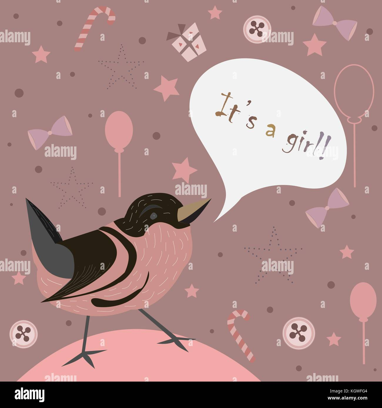 Baby Girl Birth Announcement Baby Shower Invitation Card Cute Bird