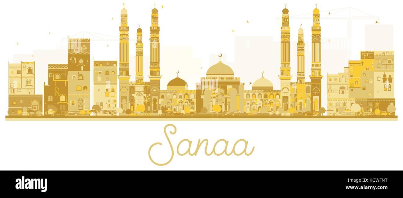 Sanaa City skyline golden silhouette. Vector illustration. Simple flat concept for tourism presentation, banner, Stock Vector