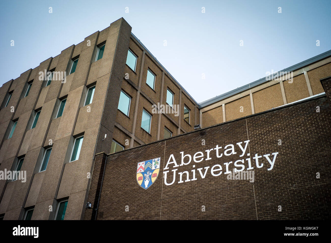 Abertay University buildings in Dundee Scotland. Formerly the Dundee Institute of Technology. It was granted University - Stock Image