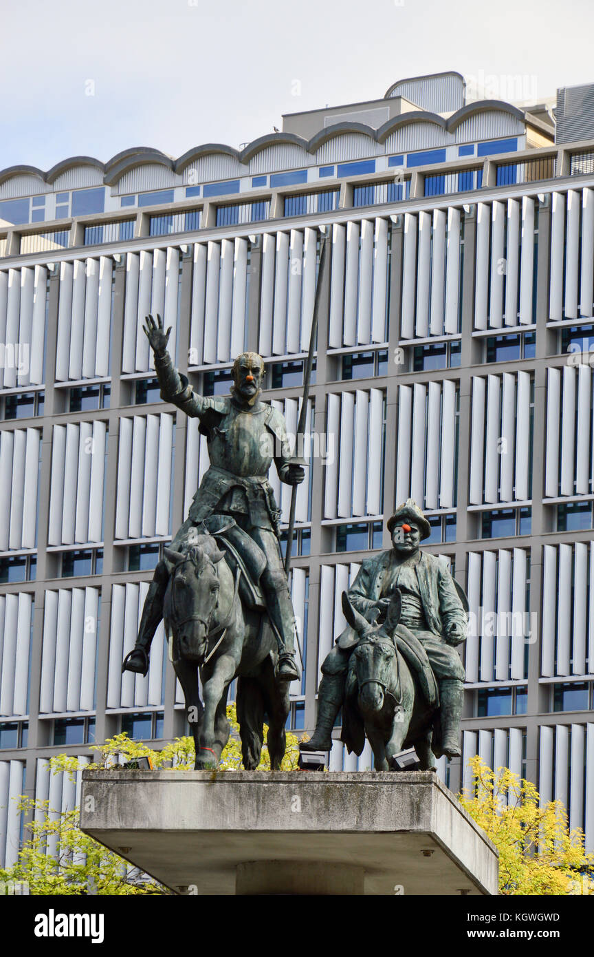 Statues of Don Quixote and Sancho Panza located at Place d'Espagne (Spanish Square) near Grand Place in the center Stock Photo