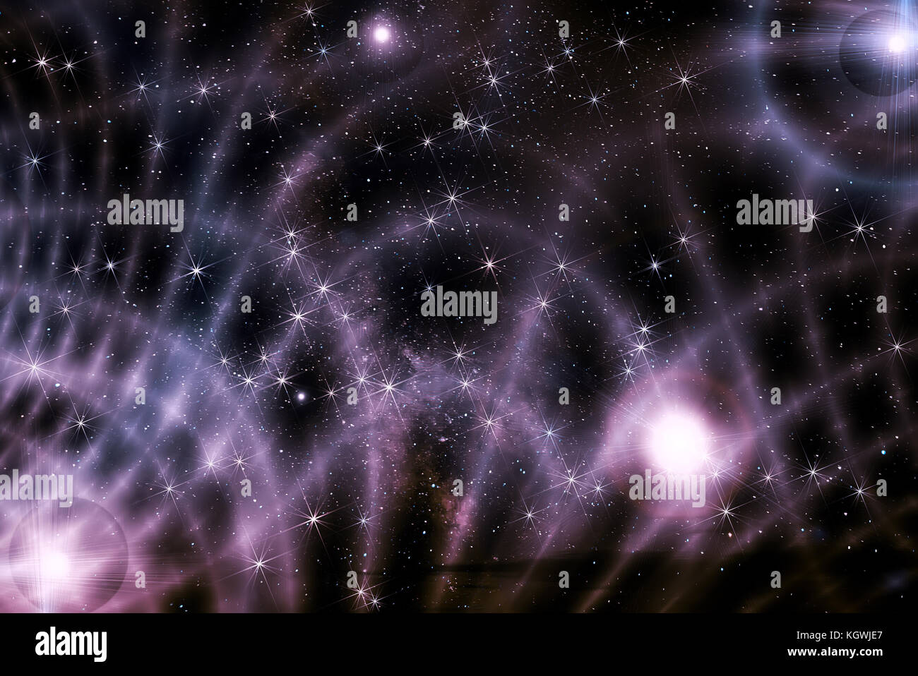 Colorful abstract background of deep space with stars, nebulae and star dust in black and lilac colors - Stock Image