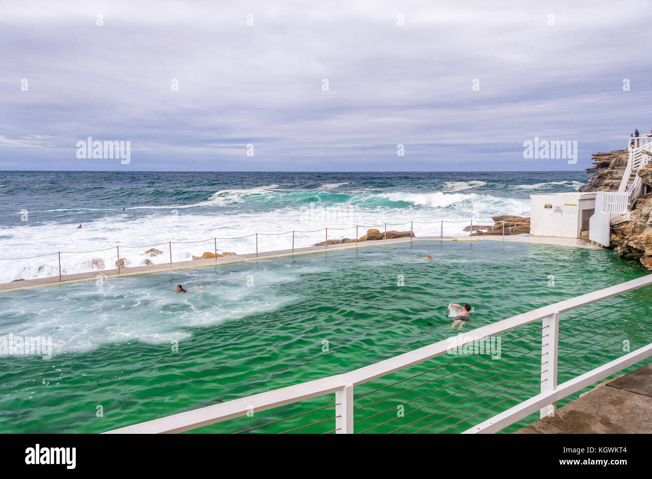 Big surf conditions at Bronte Beach rock pool in Sydney, NSW