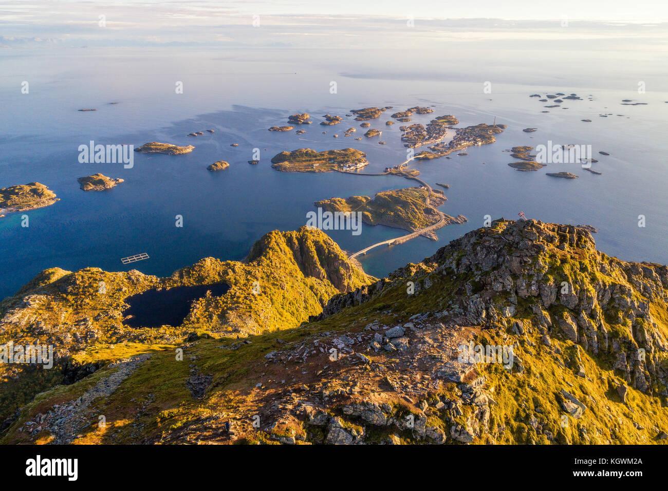 Top of mount Festvagtinden on Lofoten islands in Norway - Stock Image