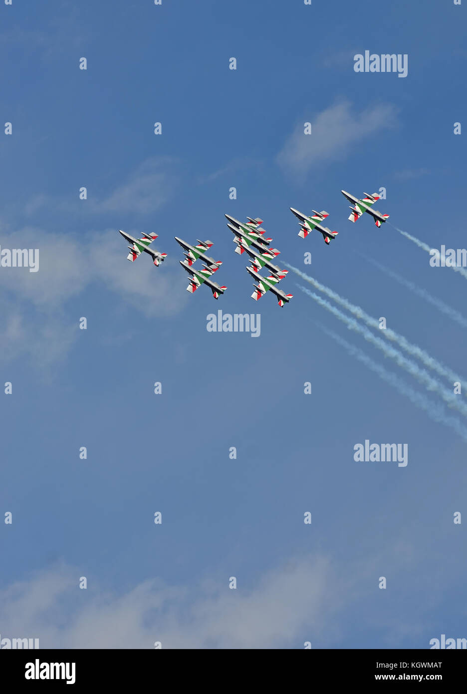 SION, SWITZERLAND - SEPTEMBER 16: Italian Frecce Tricolori in the Breitling Air Show:  September  16, 2017 in Sion, - Stock Image