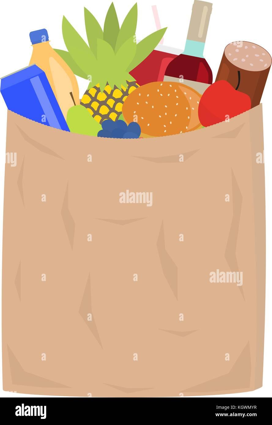 Vector market paper shopping bag full groceries - Stock Vector