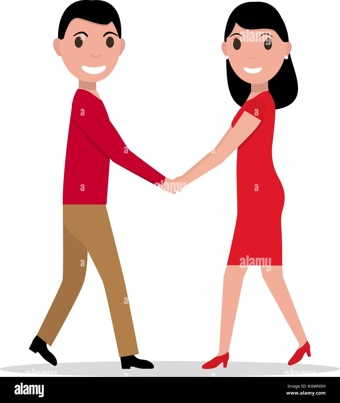 Vector illustration of a cartoon couple in love - Stock Vector