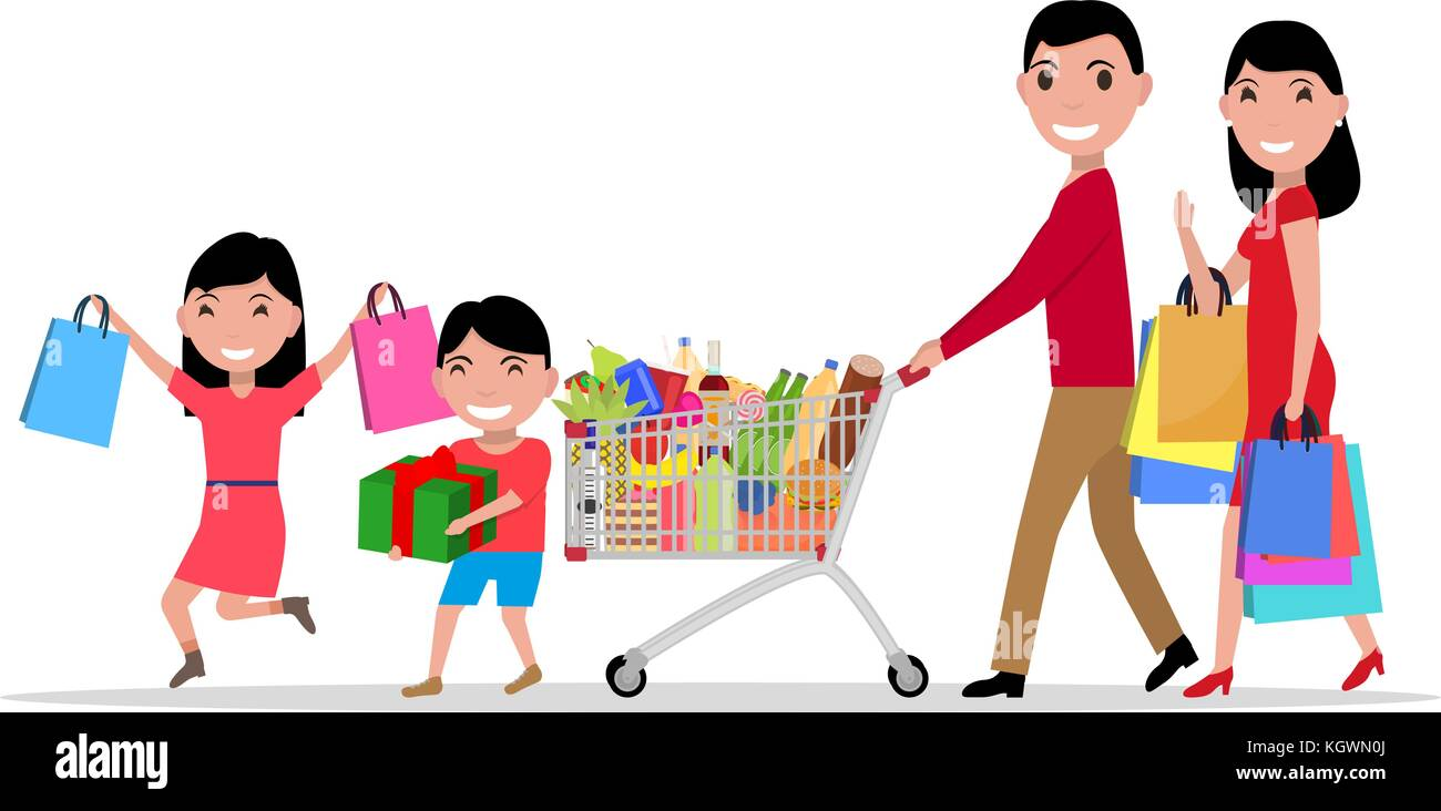 Vector cartoon happy family shopping supermarket - Stock Vector