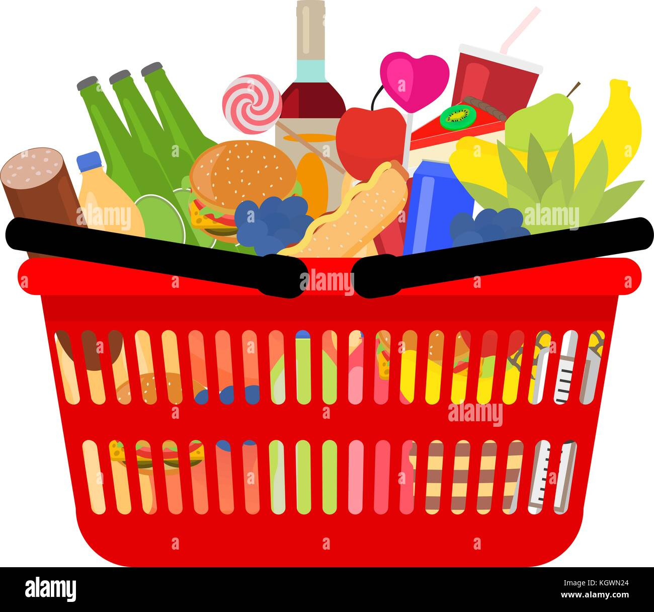 Vector market shopping basket full food and drink - Stock Vector