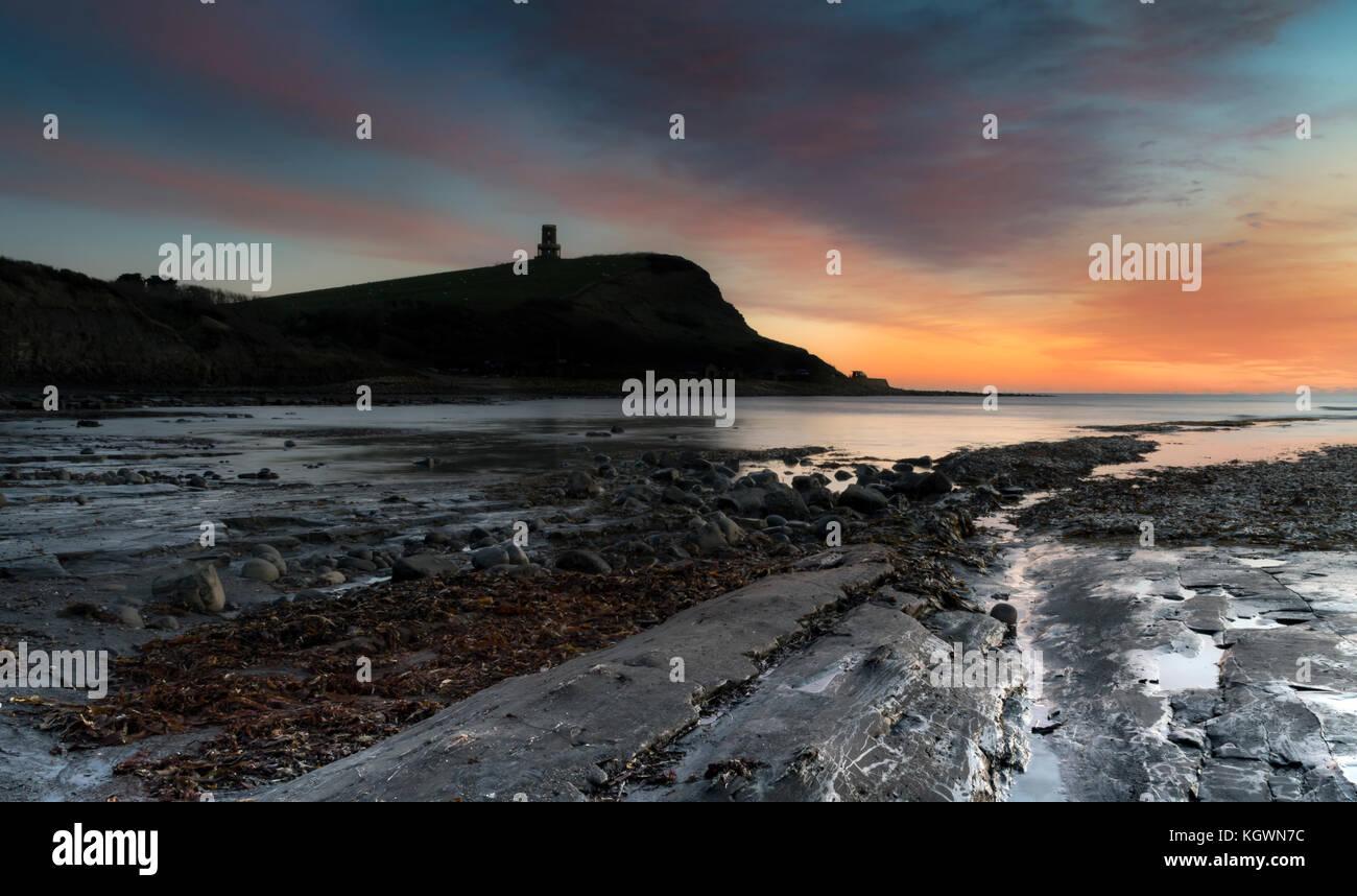 Winter sunset at Kimmeridge Bay, on the Jurassic Coast, Dorset - Stock Image