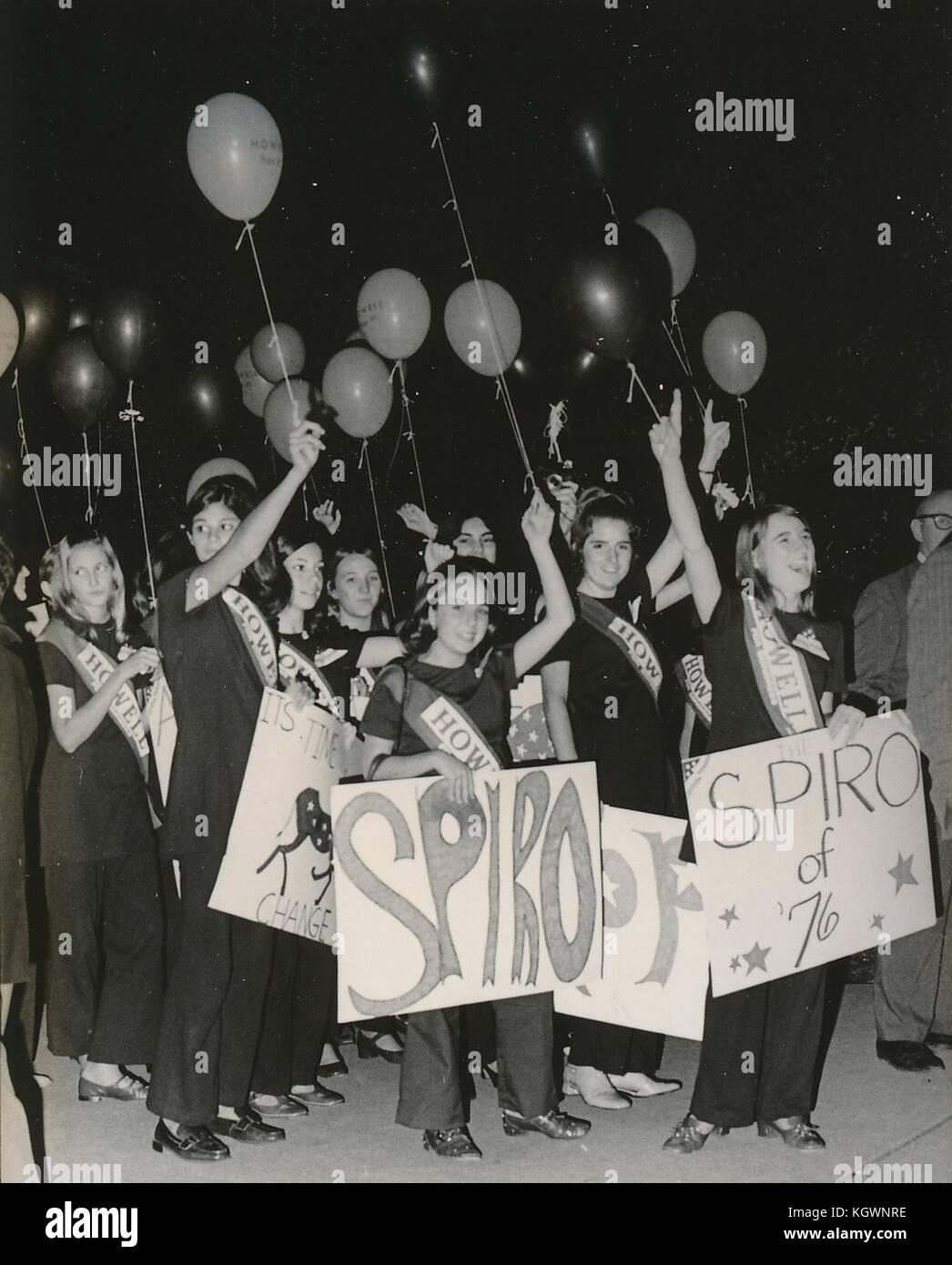 Students march at North Carolina State University, Raleigh, North Carolina holding signs reading 'Spiro of 76', - Stock Image