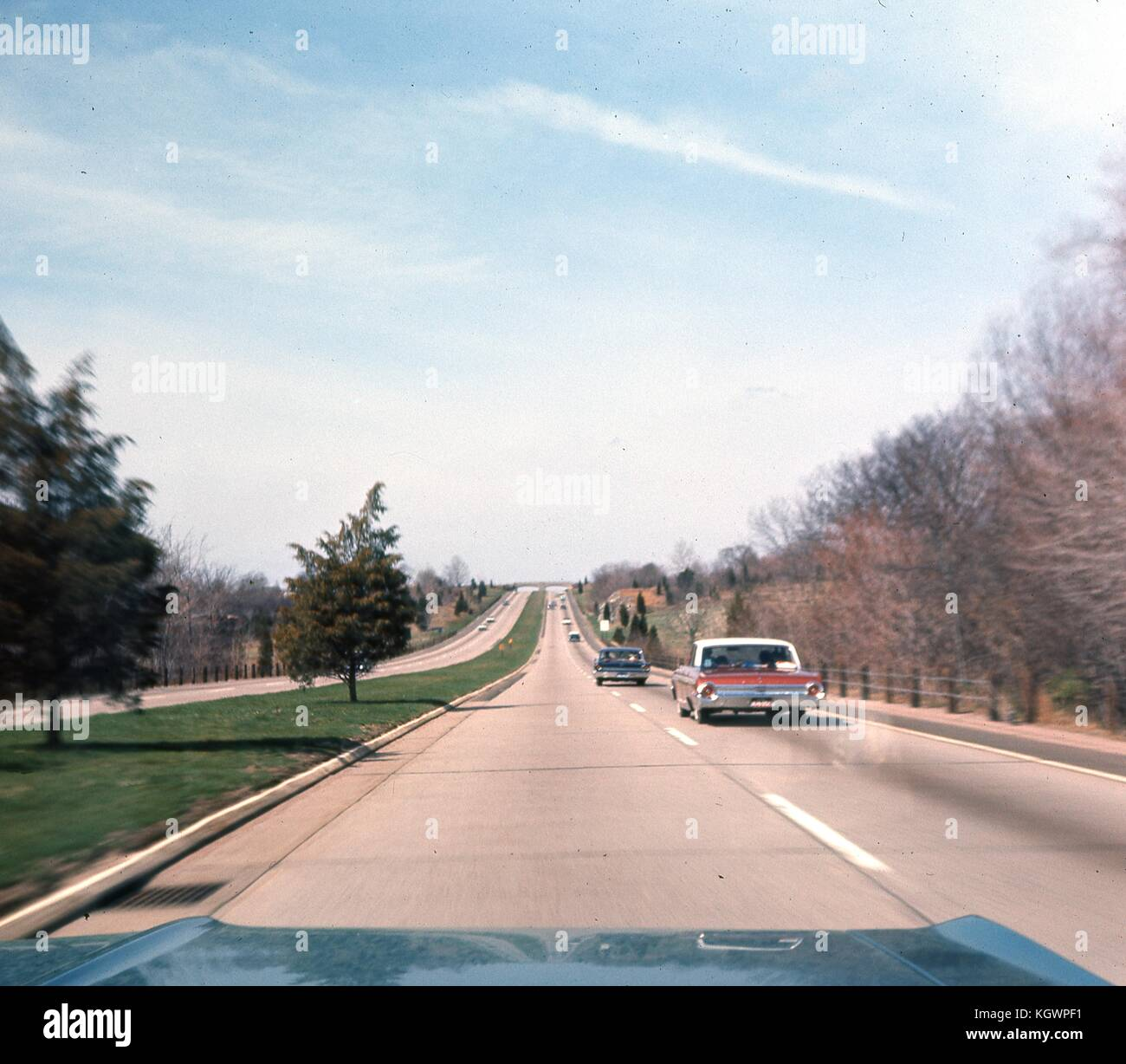 View from the front passenger seat of a car traveling southwest on the Wilbur Cross Parkway outside of New Haven, - Stock Image