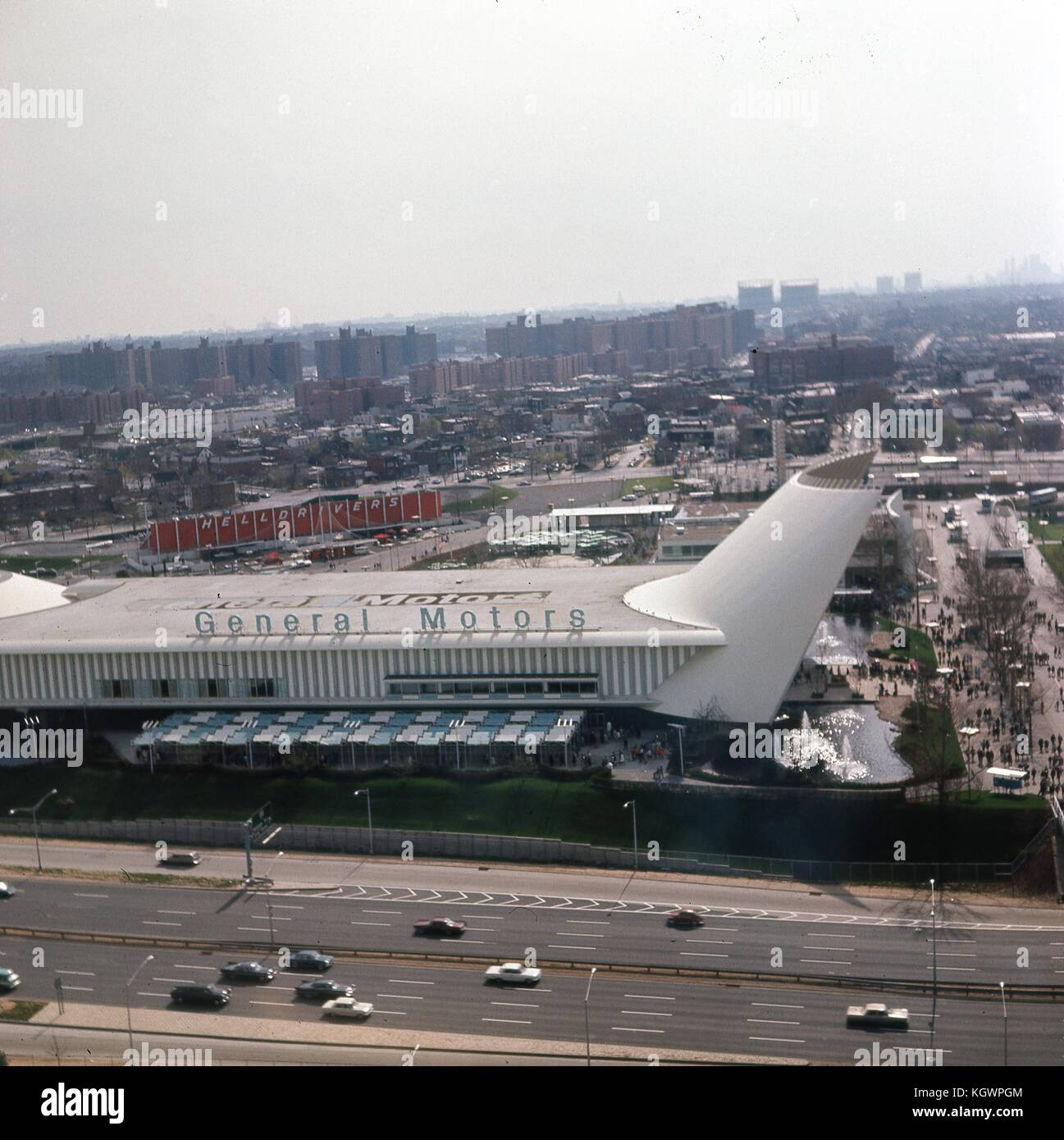 Panoramic aerial view facing southwest from the observation tower of the New York State Pavilion at the New York - Stock Image