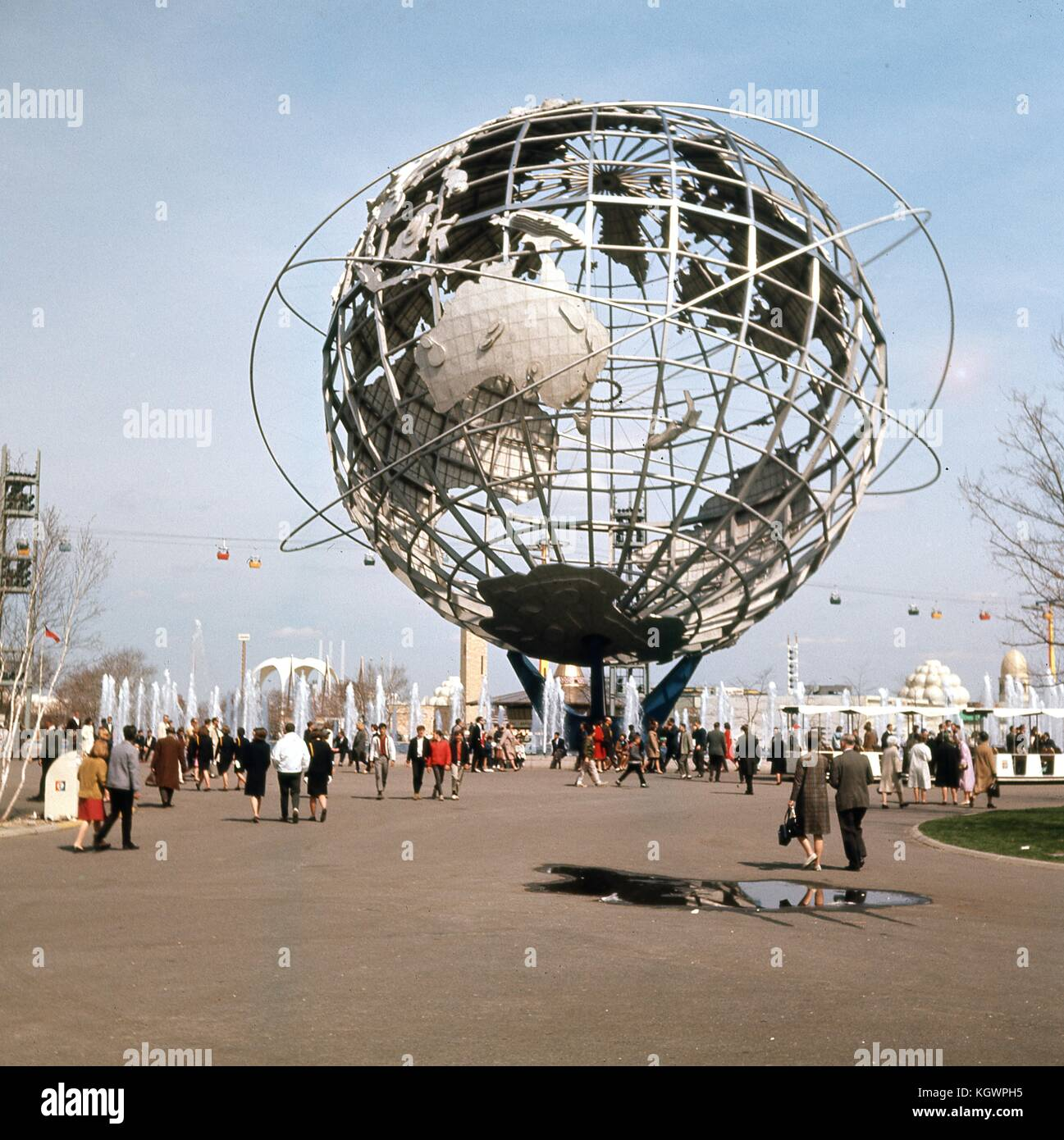 View facing east of the steel Unisphere globe, symbol of the 1964 New York World's Fair, in Flushing Meadows - Stock Image
