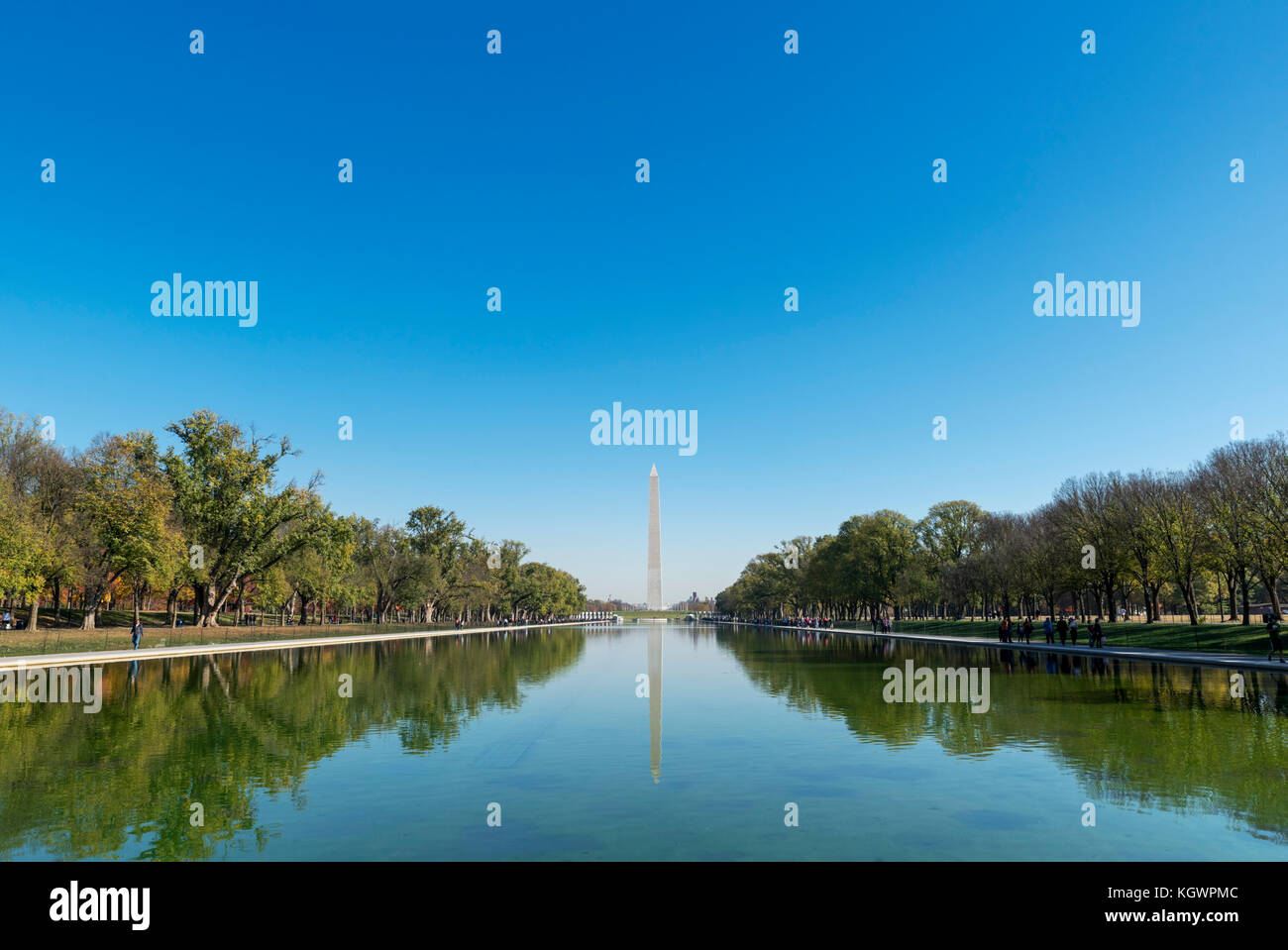 The Washington Monument and Reflecting Pool from the the Lincoln Memorial, Washington DC, USA - Stock Image