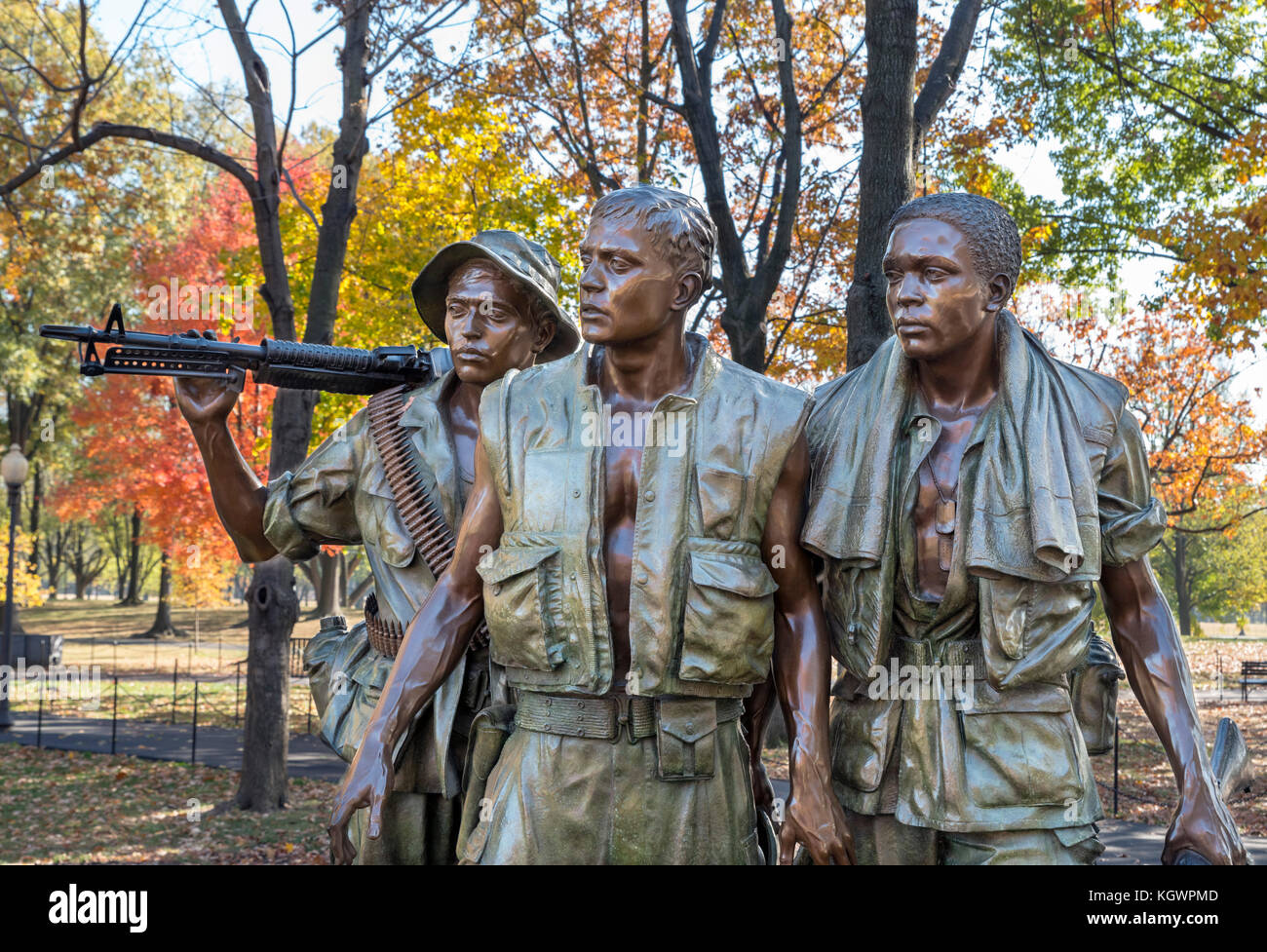 Frederick Hart's statue entitled the The Three Servicemen (The Three Soldiers), Vietnam Veterans Memorial, Washington - Stock Image