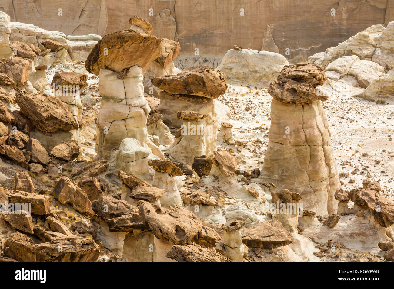 Brown and white layers of Entrada sandstone mix and create strange hoodoos at the Rimrocks area of Grand Staircase Stock Photo