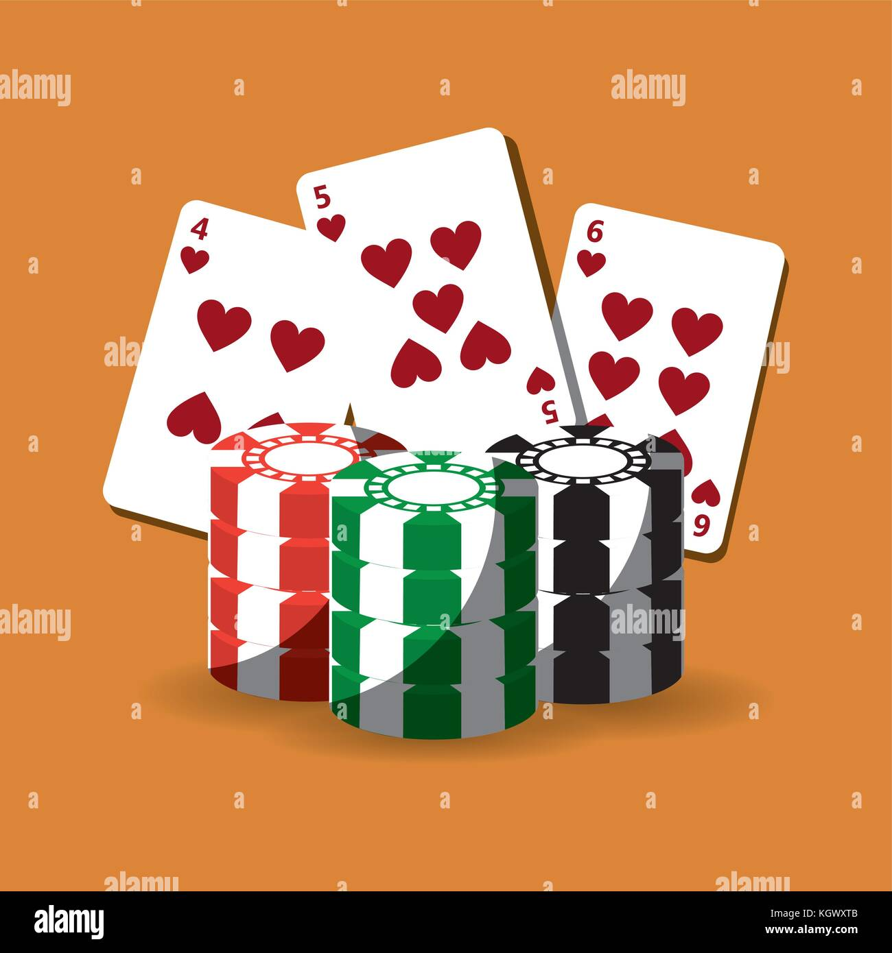 poker cards and chips gamble fortune - Stock Image