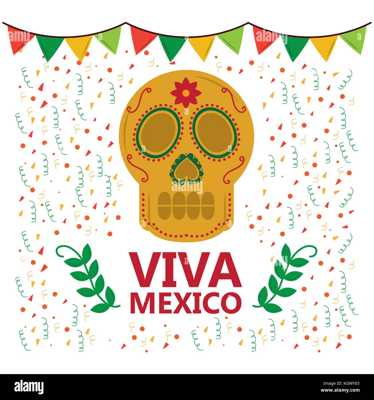 viva mexico skull pennant confetti laurel decoration - Stock Image