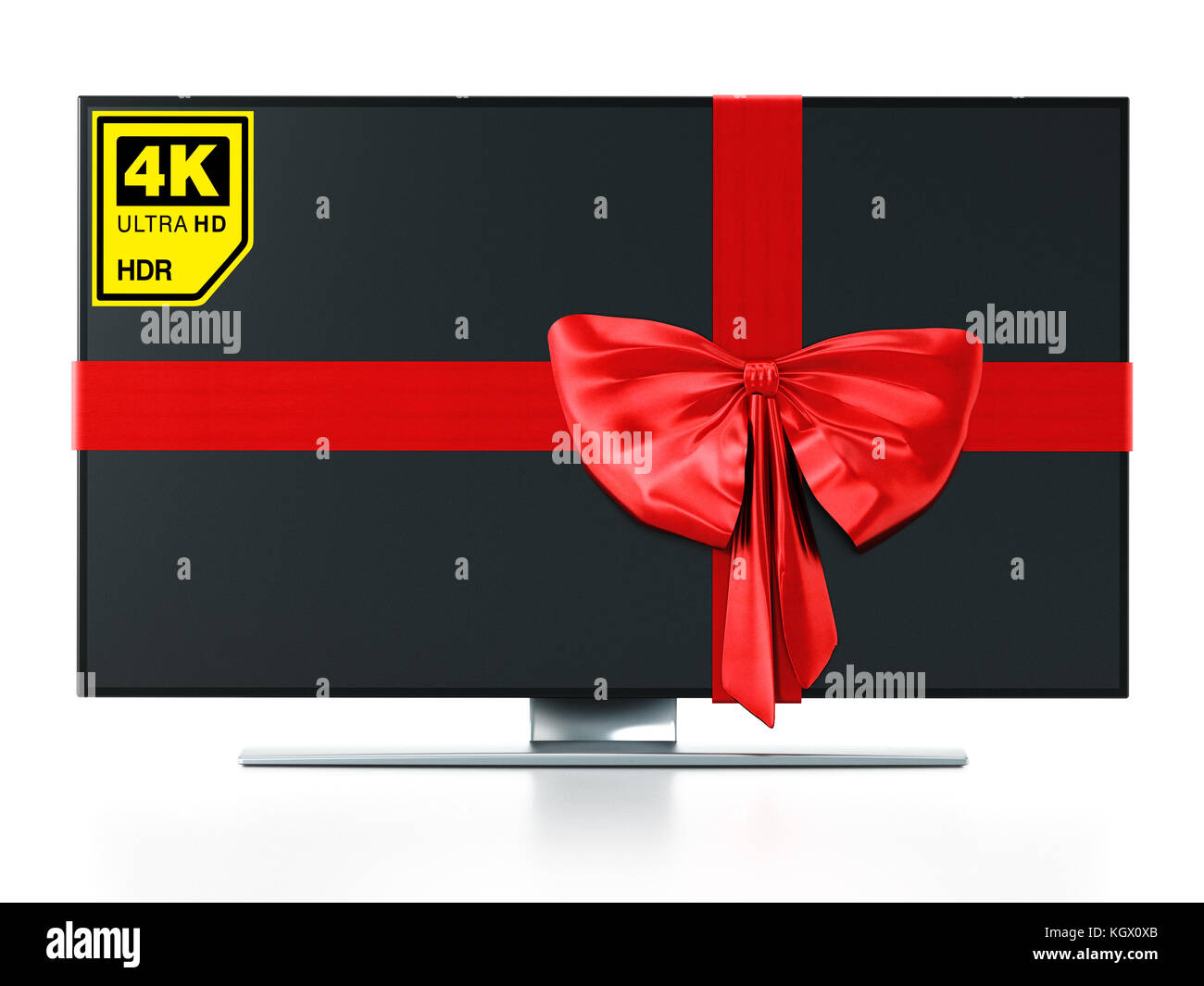 4K Ultra HD TV wrapped with red ribbon. 3D illustration. - Stock Image