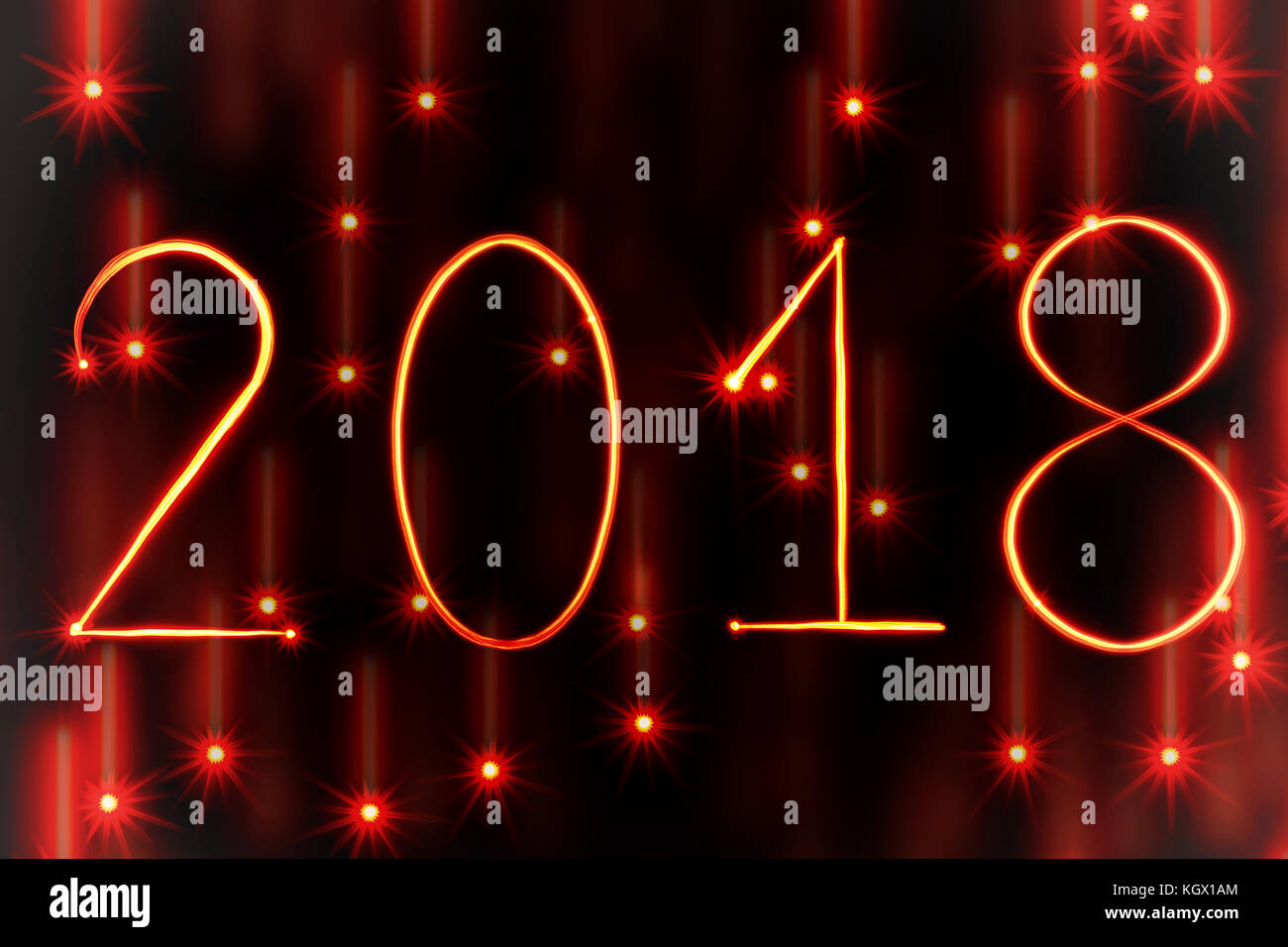 red light painting new year 2018 on red starry background - Stock Image