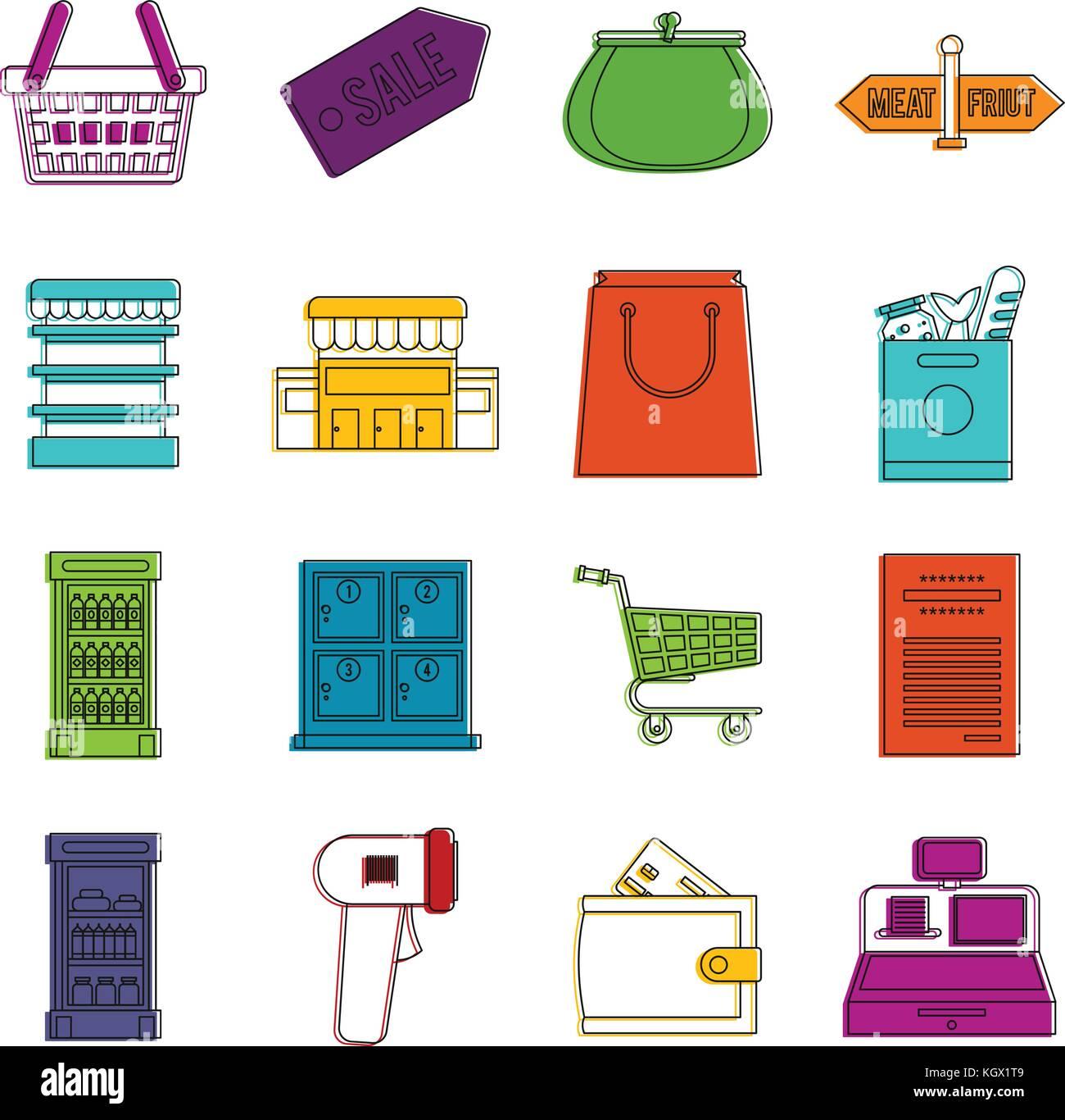 Supermarket icons doodle set - Stock Image