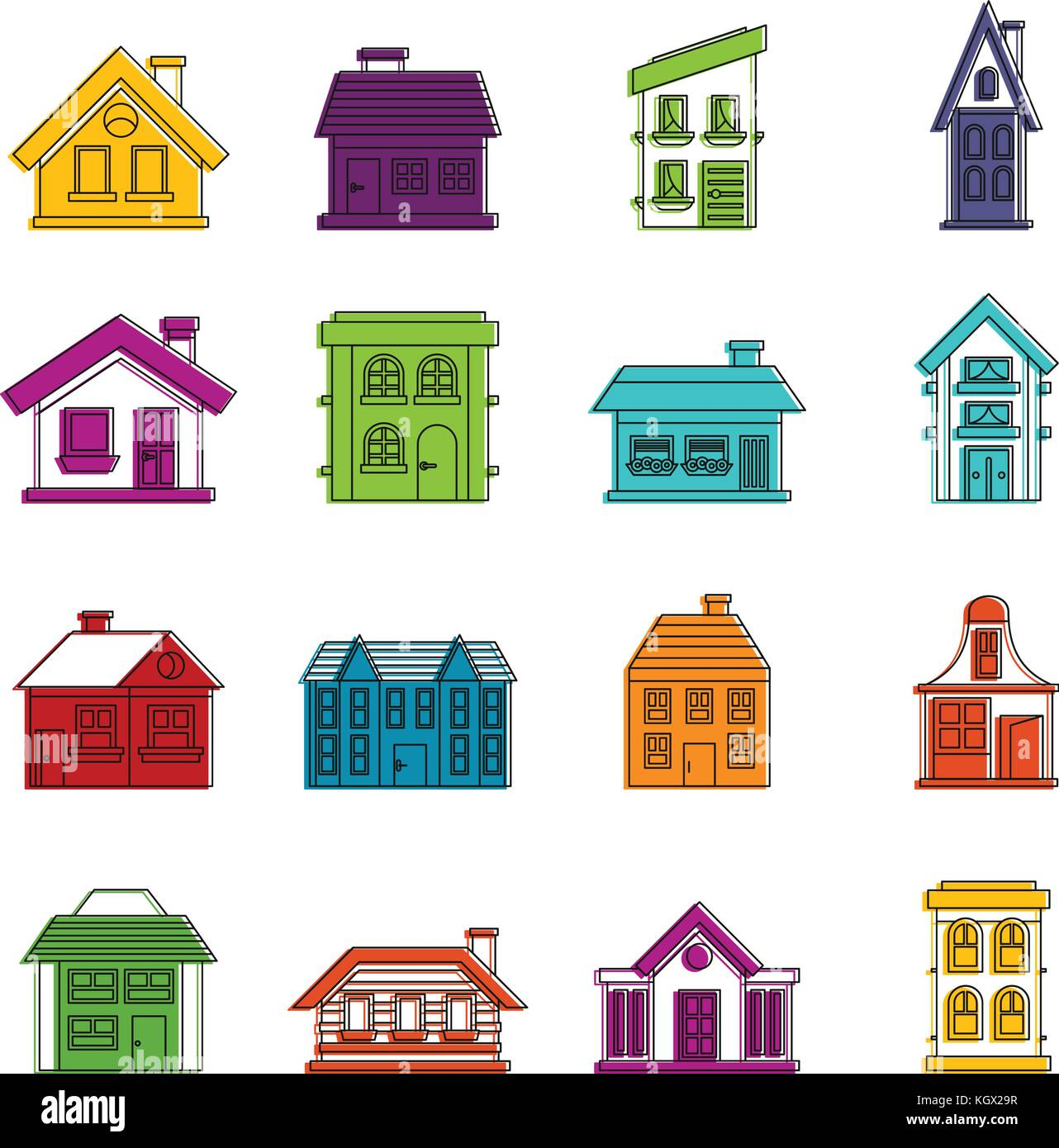 House icons doodle set - Stock Image