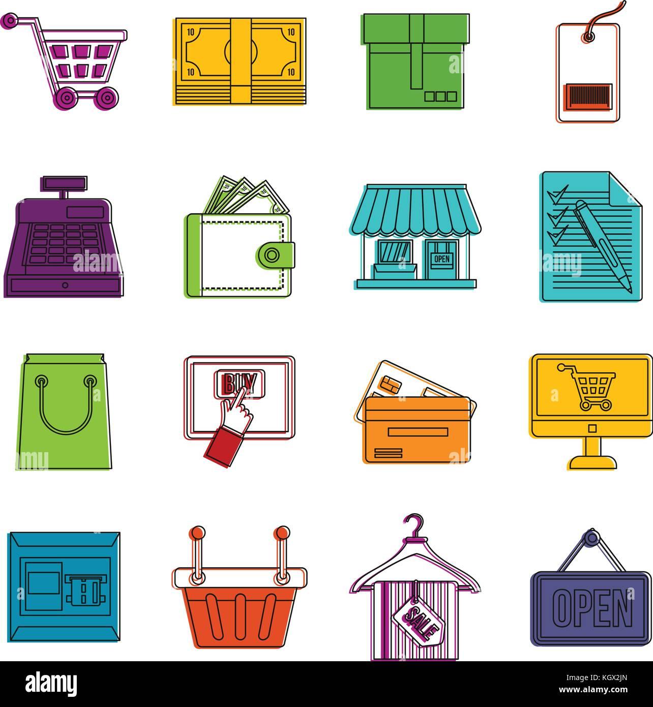 Shopping icons doodle set - Stock Image