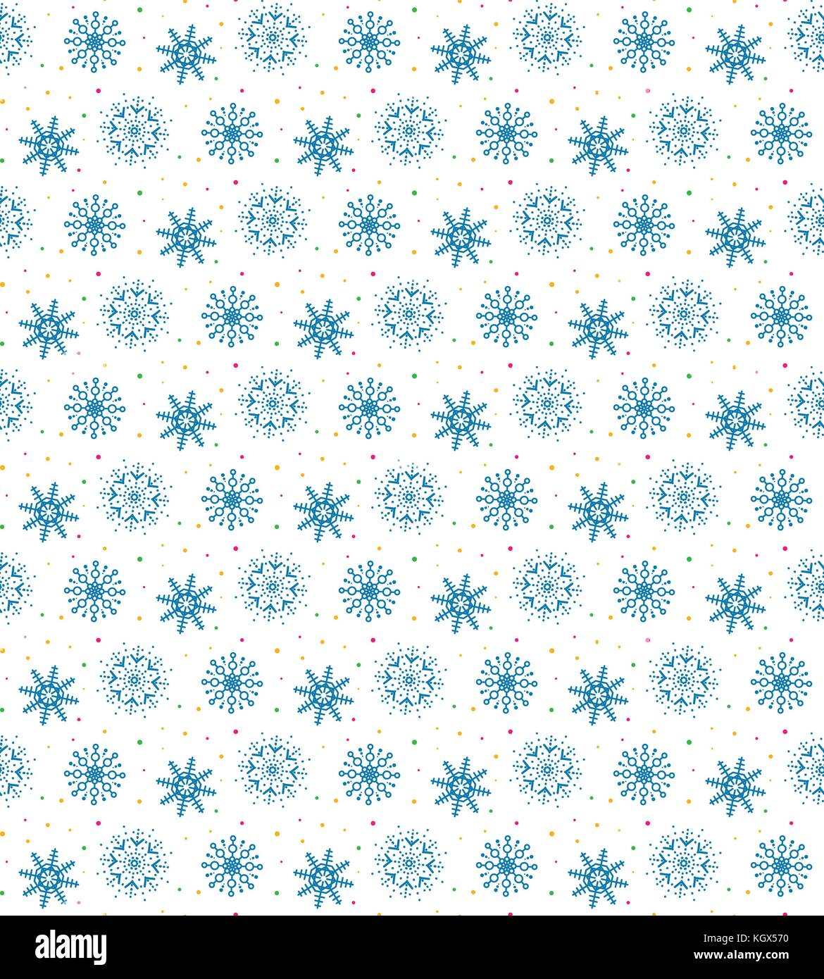 Seamless pattern of many snowflakes. Soft Christmas winter theme for gift wrapping. New Year seamless background - Stock Image