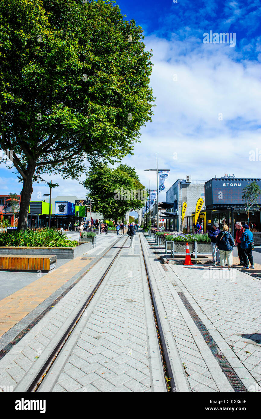 Rebuild center in containers of Christchurch, South Island, New Zealand Stock Photo