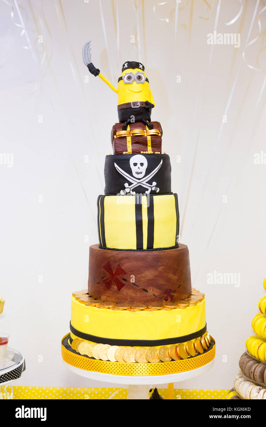 4 Layer Birthday Chocolate Cake In Yellow And Black Colors Pirate Minions Theme For Boy