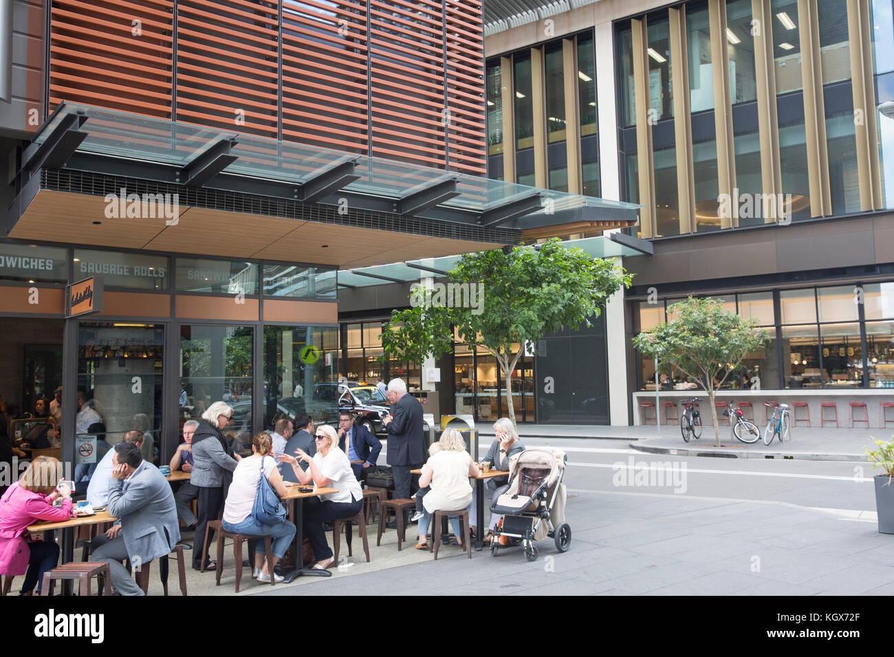 Outdoor café coffee shop in Barangaroo urban office ...