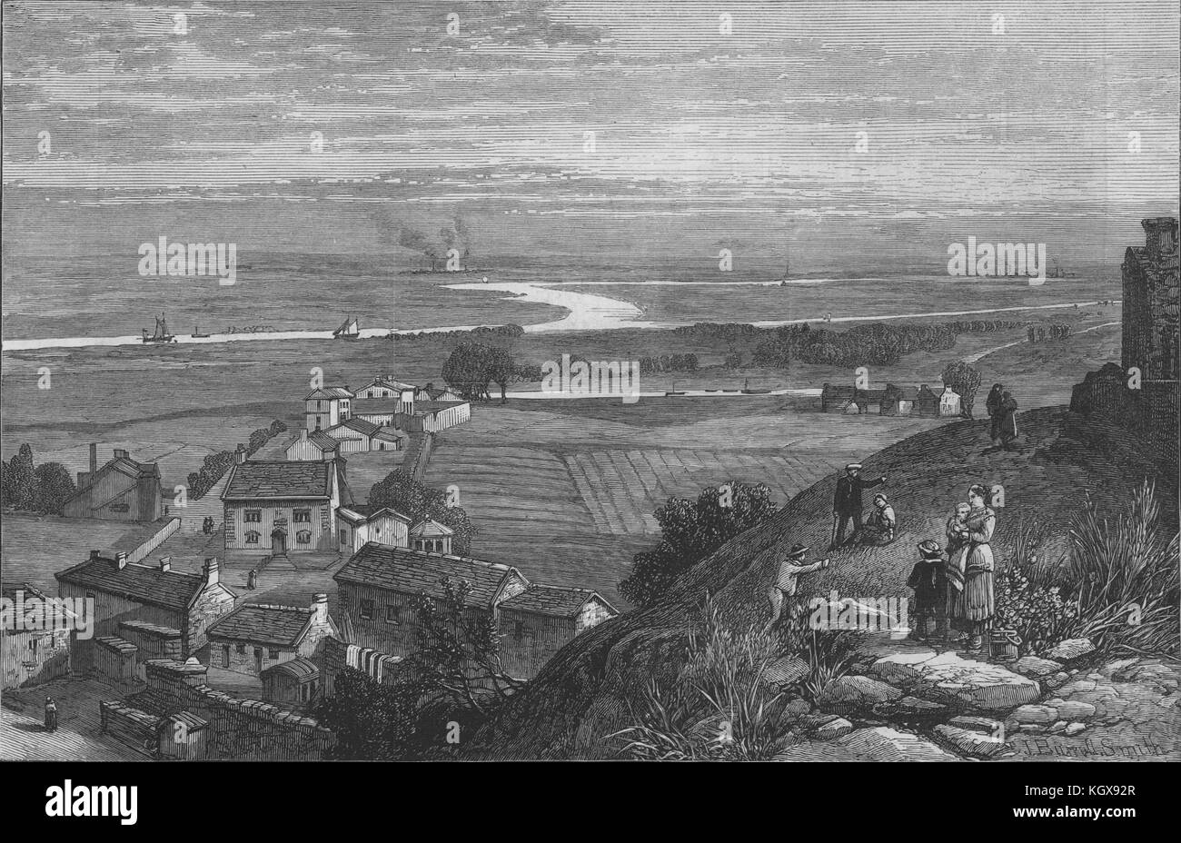 Mersey Warrington Runcorn Duke Of Bridgewater's canal Halton Cheshire 1883. The Illustrated London News Stock Photo