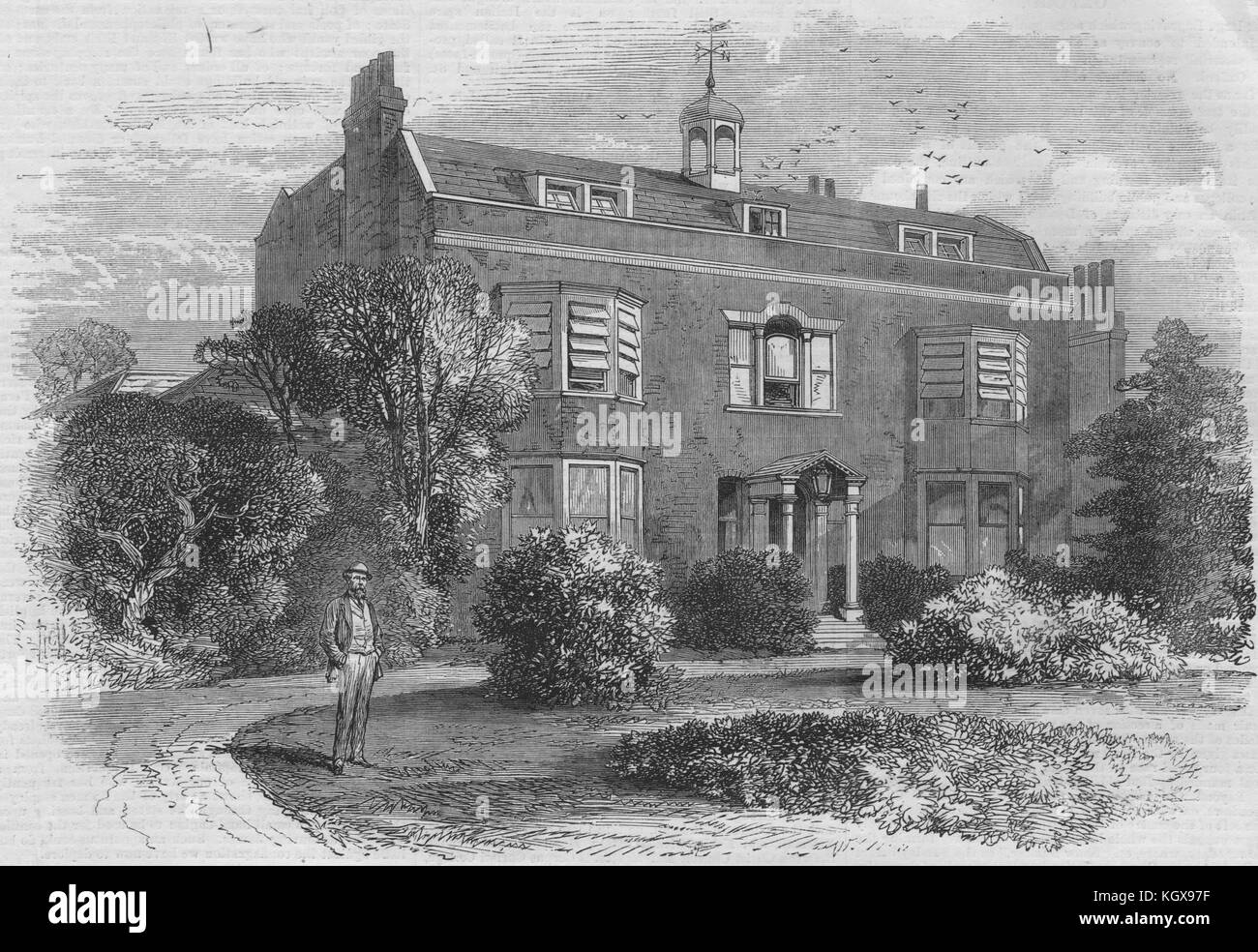 Gad's Hill Place, near Rochester, the home of Charles Dickens. Kent 1870. The Illustrated London News - Stock Image