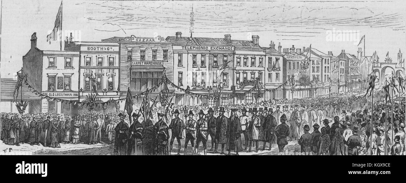 Preston. The Mayor to church. Fishergate & Lune Street processions 1882. The Illustrated London News - Stock Image