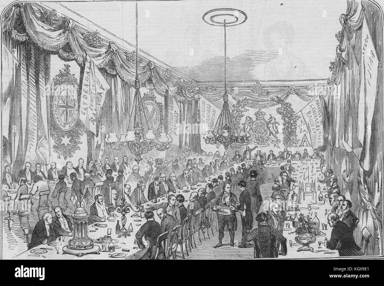 Railway contractors' dinner at the Crown & Mitre Inn, Carlisle. Cumbria 1846. The Illustrated London News - Stock Image