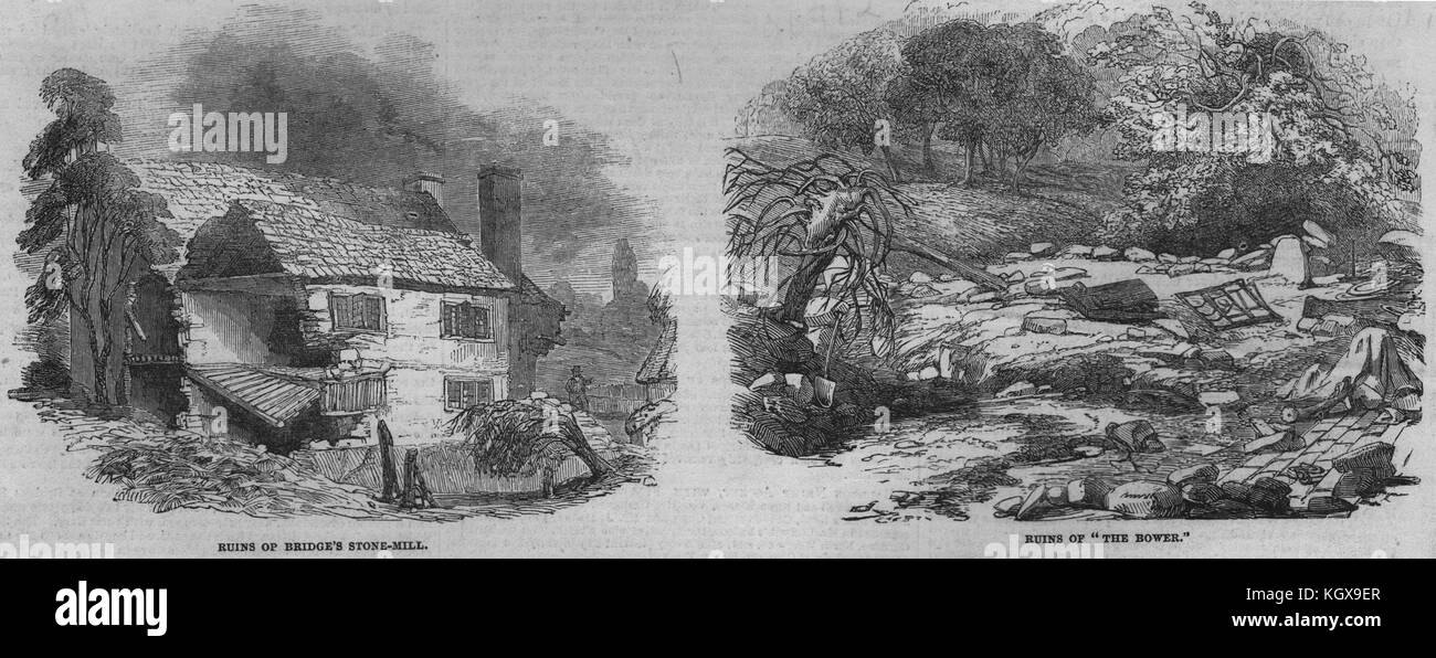 Worcestershire floods. Bridge's stone mill. The Bower 1852. The Illustrated London News - Stock Image