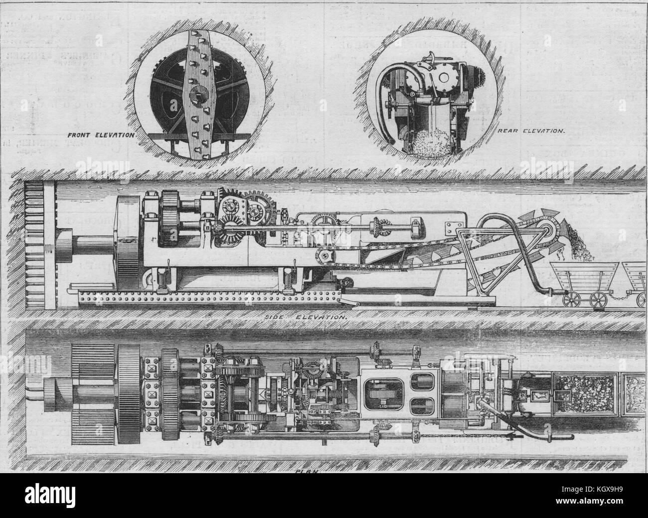 Beaumont and English's compressed air tunnelling machine. Engineering 1882. The Illustrated London News - Stock Image