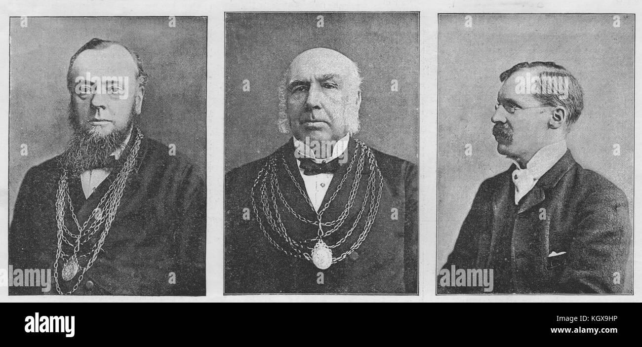 Doncaster. Alderman Clark Mayor Stockil Sugden Town Clerk. Yorkshire 1891. The Illustrated London News - Stock Image