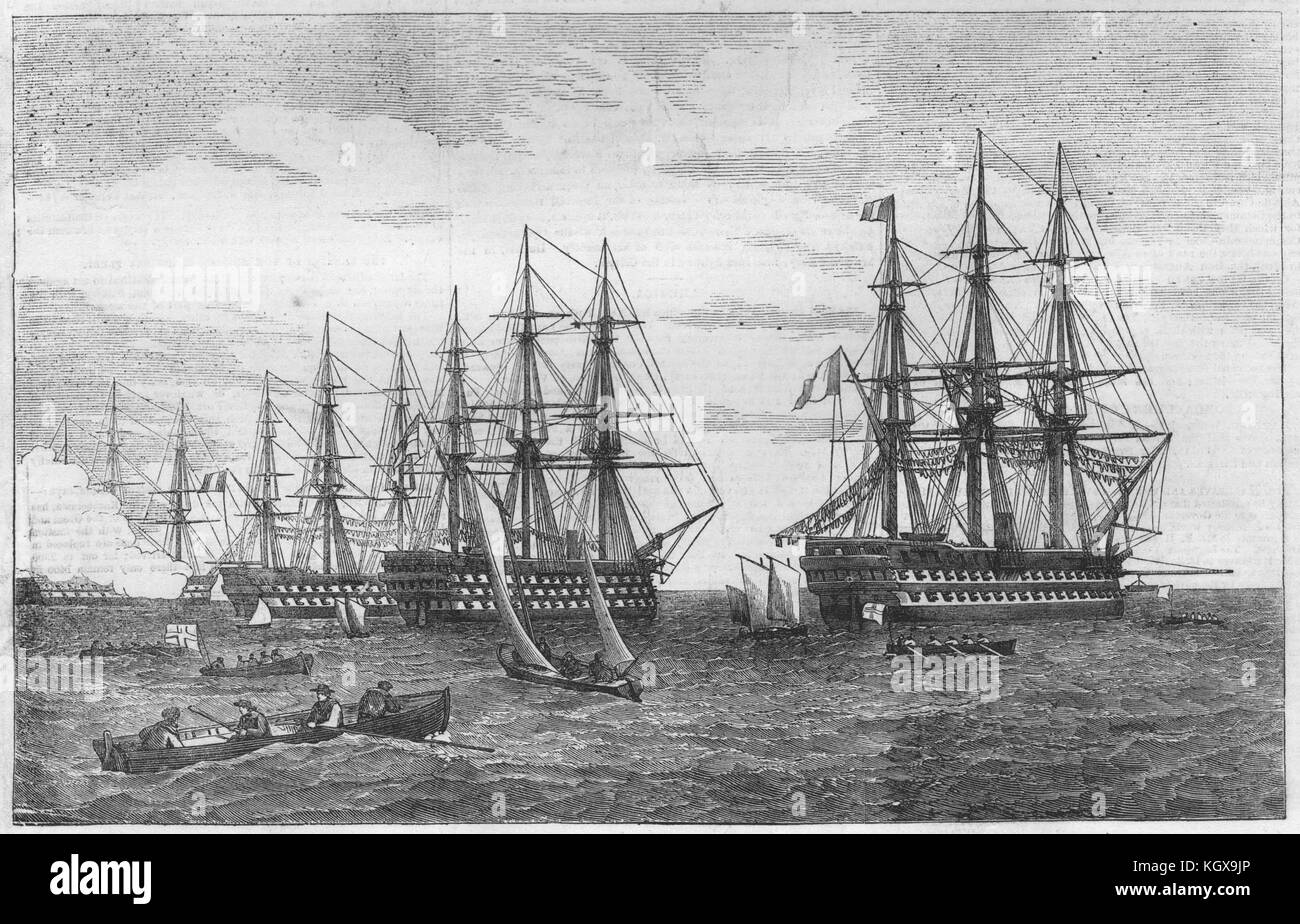Baltic fleet off Kronstadt. Orion Du Quesne Royal George Tourville. Russia 1855. The Illustrated London News - Stock Image