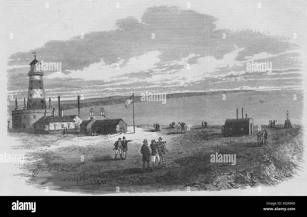 Dungeness lighthouse disaster. Masts of sunken ship in the distance. Kent 1873. The Illustrated London News - Stock Image