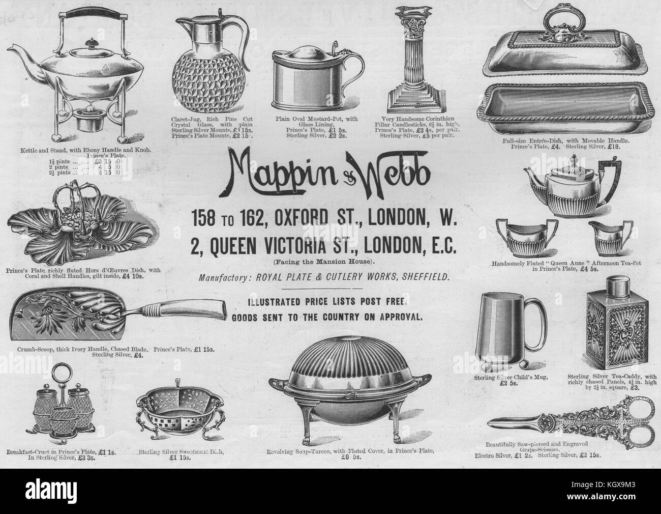 Mappin & Webb. Adverts 1894. The Illustrated London News - Stock Image