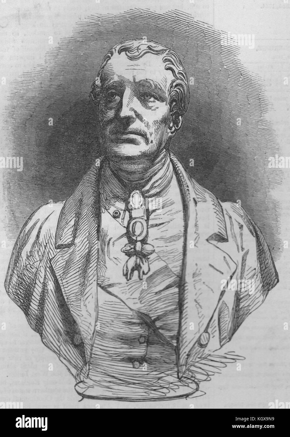Reminiscences of 'The Duke'. Bust of the Duke Of Wellington. Portraits 1852. The Illustrated London News - Stock Image