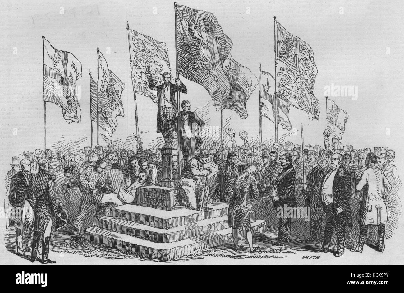 Lord Mayor's view of the Thames. Ceremony at the boundary stone, Staines 1846. The Illustrated London News - Stock Image